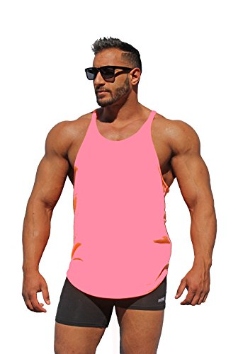 Physique Bodyware Mens Y Back Stringer Tank Top. Made in America (Small, Neon Pink)
