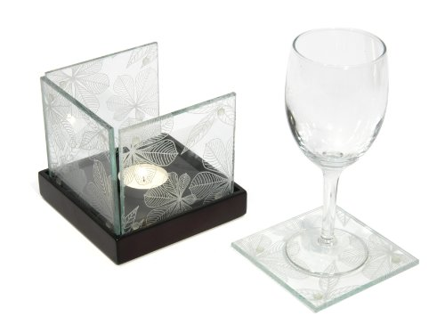 quare Coasters with Tea Light Tray, Set of 4 (Four Coaster Tray)