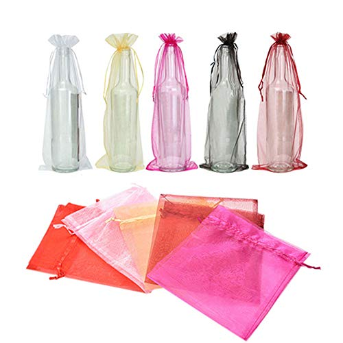 Yamalans 10pcs Organza Wine Bottle Cover Solid Color Gift Bags Champagne Case Pouch for Party Wedding Table Decor Pink