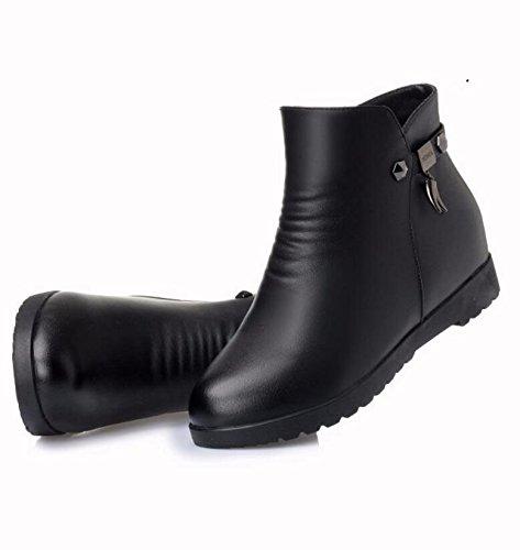 KHSKX-Black 2.5Cm Winter Mother Shoes Cotton Shoes Plus Velvet Flat-Bottomed Boots Faux Leather Soft Bottom With Anti-Slip Warm Elderly Female Boots 38 pgvaf