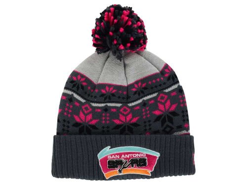 New Era San Antonio Spurs Adult Cuff Knit Beanie w/ Pom One Size OSFA NBA Authentic Hat Cap - Graphite Gray / Black/ Pink by New Era