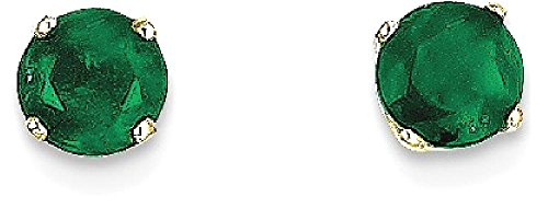 ICE CARATS 14k Yellow Gold 5mm Green Emerald Post Stud Ball Button Earrings May Birthstone Prong by ICE CARATS