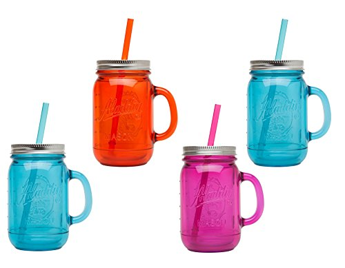 Plastic Mason Jar Set Handled Lidded Tumbler Drinking Cup Mug Glasses & Straws, Colors Vary (Lidded Jar)