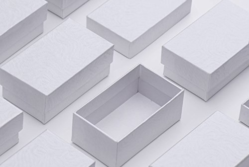 MESHA Jewelry Boxes 2.5x1.5x1 Inches Small Gift Boxes White Swirl Cardboard Earring Boxes with Cotton Filled Pack of 10