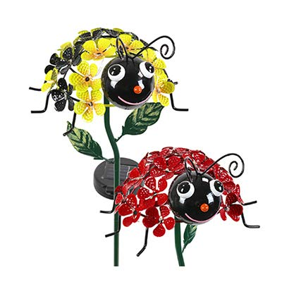 - Exhart Environmental Systems 05708 LED Solar Garden Stake Light, Bumble Bee & Ladybug, Acrylic & Metal - Quantity 4