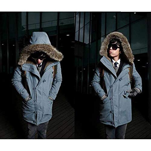 Hooded Jacket Fur Parka Outerwear Winter Jacket Blau Warm Winter Apparel Sleeve Coat Men's with Coat Long Thicken Parka Winter P5qTS8I