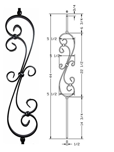 Hollow Metal Stair Baluster Spindle SCROLL 1/2