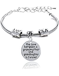 Lauhonmin Family Gift ther love between Mother and Daughter is forever Pendant Bracelet Bangle