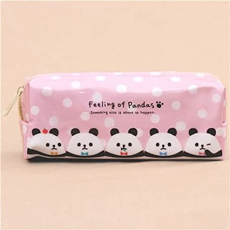 Lindo bolso estuche lápices rosa lunares blancos gracioso panda de ...