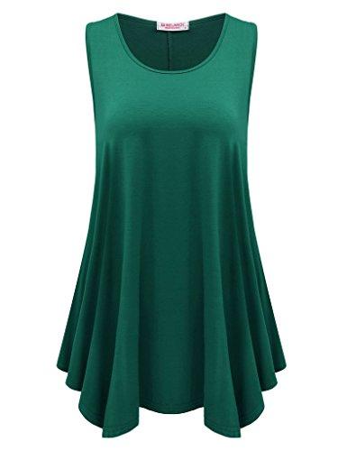 BELAROI Womens Plus Size Sleeveless Comfy Tunic Tank Top (2X, Deep Green)