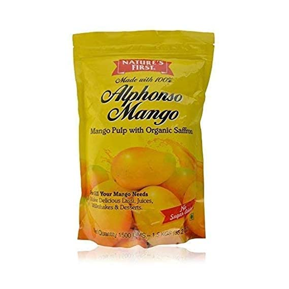 Nature's First 100% Alphonso Mango Pulp with No Added Sugar / No Preservatives, 1.5 kg