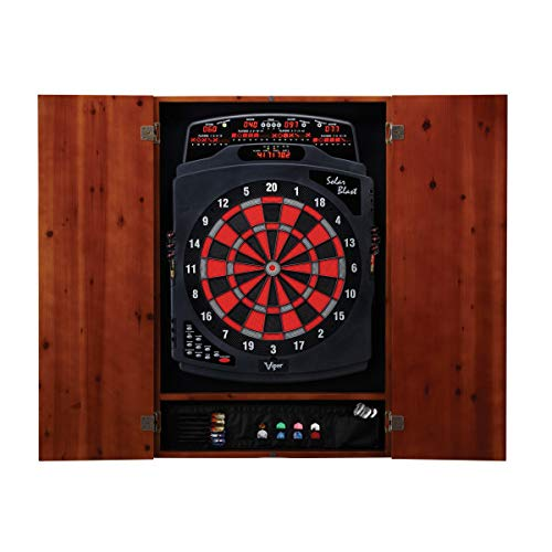 Viper Solar Blast Electronic Dartboard & Metropolitan Cinnamon Cabinet Value Bundle Set