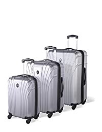 Atlantic Beaumont Hardside 3 Piece Spinner Luggage Set, Silver