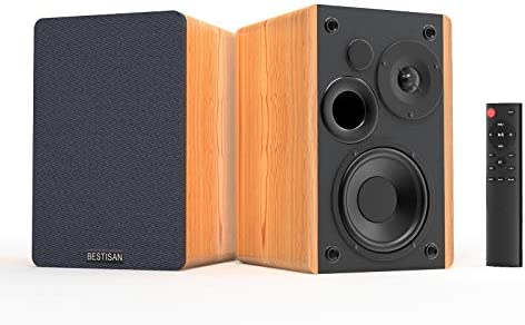 Bookshelf Audio system BESTISAN Bluetooth 5.0, 3 Equalizer Modes, 50W Dwelling Theater Bookshelf Audio system, Distant Management, Picket Enclosure, 2.0 Stereo, RCA/Aux/Optical Connection