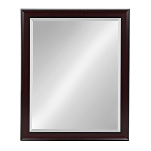 Kate and Laurel Scoop Framed Beveled Wall Mirror, 26x32, Cherry