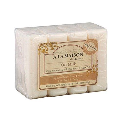 Soap Milk Bar Oat - A La Maison Hand & Body Bar Soap - Oat Milk 4/3.5 oz (100 grams) Bar(S)