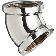 "Merit Brass Chrome Plated Brass Pipe Fitting, 45 Degree Elbow, 1/2"" NPT Female"