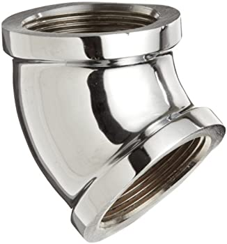 """Chrome Plated Brass Pipe Fitting, 45 Degree Elbow, 1/2"""" NPT Female"""