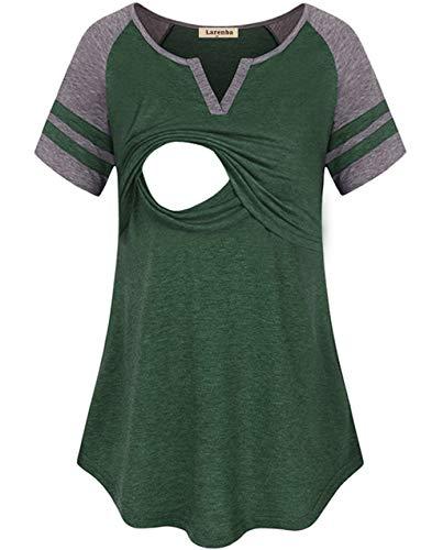(Larenba Breastfeeding Tunic for Women, Juniors Breathable Cotton Short Sleeve Nursing Nightgowns Top Scoop Neck Striped Patchwork Breastfeeding)