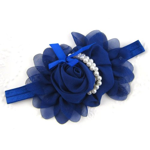 Générique Bébés filles en mousseline de soie perle Bandeau Rose Fleur Hairband Photographie Prop Band (Bleu)