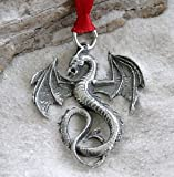 Pewter Dragon Gothic Fantasy Christmas Ornament and Holiday Decoration