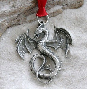 Pewter Dragon Gothic Fantasy Christmas Ornament and Holiday Decoration - Fire Design Heavy Glass Ornament
