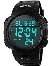 Skmei 1068 Men Sport Digital Watch Outdoor Black Waterproof 50M Alarm Large Number Backlight Fashion Design