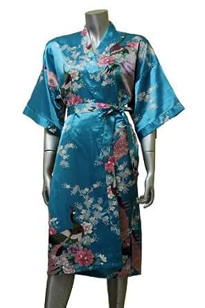 Amazon.com: Asian Peacock Kimono Women's Satin Silk Robe