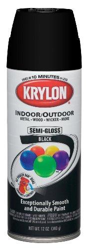 Krylon (K05160307-6 PK Semi-Gloss Black Interior/Exterior Decorator Paint - 12 oz. Aerosol, (Case of 6)