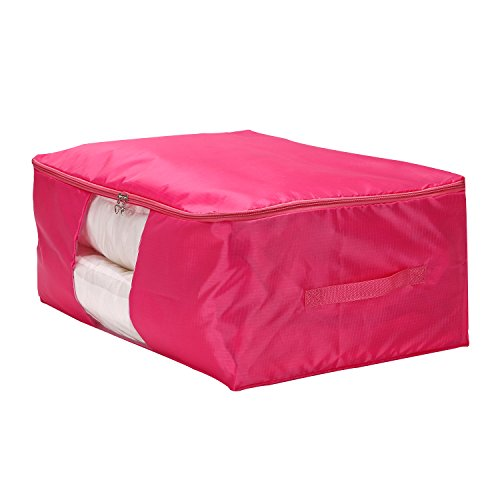 VEAMOR Comforter Storage Bags Containers,Pillow Beddings/Blanket Clothes Organizer Storage Containers With Zippers,Breathable and Moistureproof (Rose Red, M)
