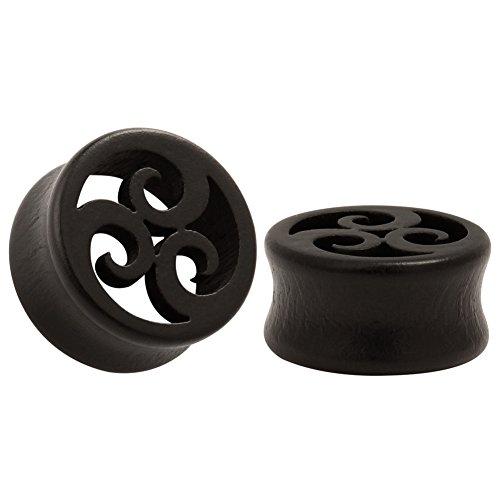 KUBOOZ Ebony Wood Ear Plugs Concise Style Pierced Ear Expander Piercing Tunnels Gauge 16mm by KUBOOZ