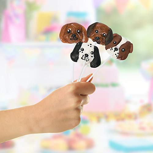 Fun Express Dog Head Lollipops | 12 Count | Party Favor Candy Suckers for Birthday Parties and Baby Showers