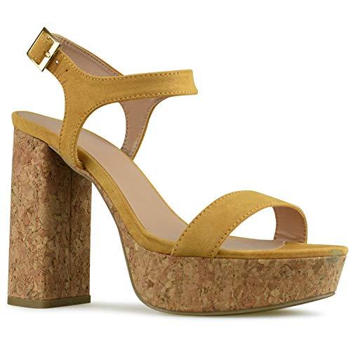 Premier Standard - Women's Ankle Strap High Heel - Open Toe Sandal Pump - Chunky Cork Heel Platform Shoe, TPS2019100029 Mustard Yellow Size 7