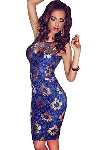 NEW Mesdames bleu & fleur or dentelle Mini robe Bodycon Club Soirée Party robe d'été de soirée taille M UK 10EU 38