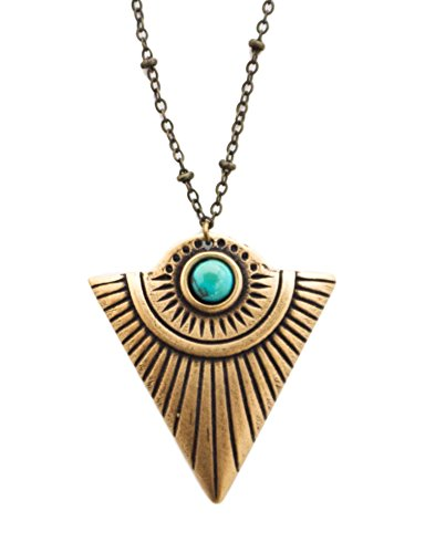 Triangle Turquoise Necklace - Artemis Triangle Shield Necklace with Turquoise (Gold)