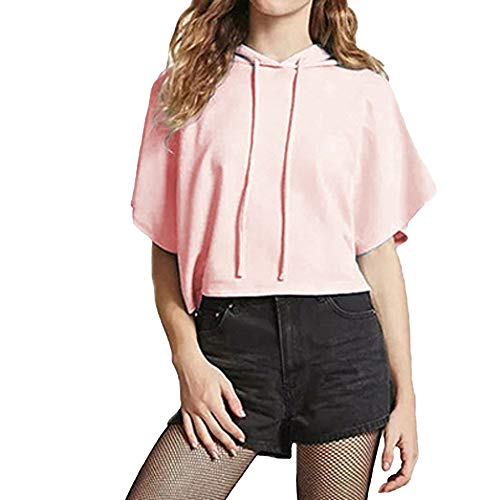 Keliay Womens Tops for Summer,Women Fashion Drawstring Pink Short Sleeve Hooded Casual Crop Top