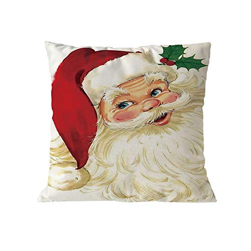 (Pausseo Pillowcase Merry Christmas Xmas Santa Claus Cotton Pillow Cover Cushion Sofa Waist Throw Pillowcase Home Decoration Office Car Bed Decor Wrinkle Resistant Hypoallergenic Pillowslip)
