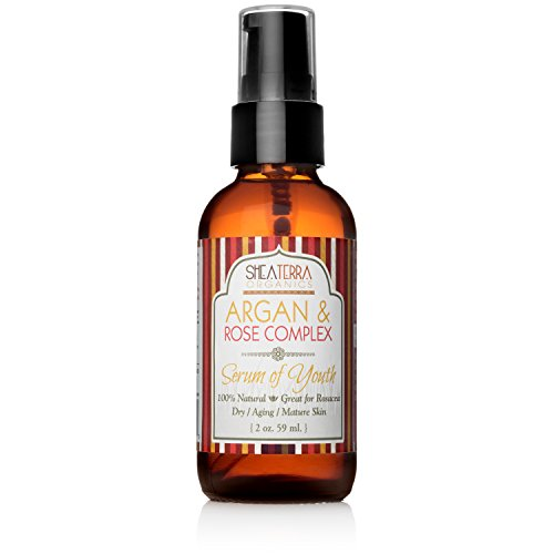 Shea Terra Organics Argan & Rose Complex Serum of Youth | Anti-Wrinkle Facial Treatment, Anti-Aging Drops, All Natural Home Spa Products and Beauty Salon Supplies - 2 oz