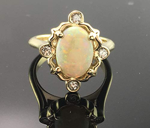 - Victorian Opal Engagement Ring- 14K Solid Yellow Gold Vintage Inspired Opal and Diamond Engagement Ring- Oval Opal Cabochon Engagement Ring