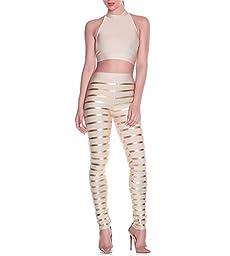 Hego Women\'s Striped Night Club Party Bandage Set Pants H2094 (XS, Khaki)