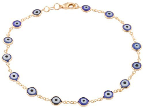 Gold Overlay with Navy Blue Mini Evil Eye Style 10 Inch Anklet (T-321)