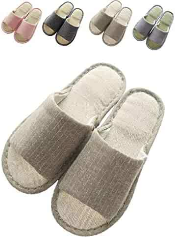 bc5e73def79 zisheng Women s and Men s Cotton Flax Casual Cute Memory Foam Open Toe  Slippers Soft Light Comfortable