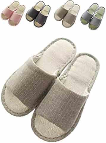 3b99937f5ad2 zisheng Women s and Men s Cotton Flax Casual Cute Memory Foam Open Toe  Slippers Soft Light Comfortable