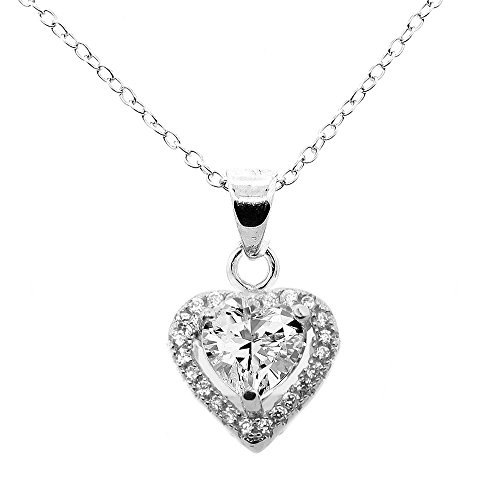 Cate & Chloe Amora Love 18k White Gold Plated Pendant Necklace - Silver Halo Heart Necklace w/Beautiful Solitaire Round Cut Cubic Zirconia Diamond Cluster - Wedding Anniversary Jewelry ()