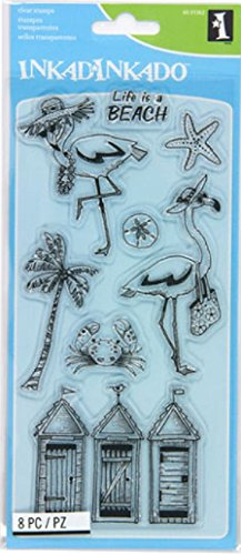 - Inkadinkado Flamingo Fun Unmounted Clear Rubber Stamp Set for Card Making and Scrapbooking, 8pc.