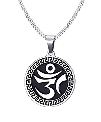 EZSONA Men's Silver Round Aum Om Ohm Sanskrit Yoga Charm Greek Pendant Necklace