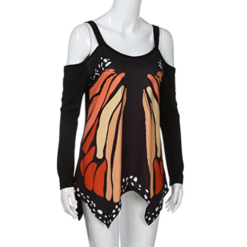Gran tamaño mujeres primavera verano blusa, ruhiku GW mariposa camiseta manga larga Casual camisa señoras Off hombro Tops: Amazon.es: Juguetes y juegos