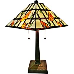 Amora Lighting AM218TL14 Tiffany Style Floral Mission Table Lamp 21 In High