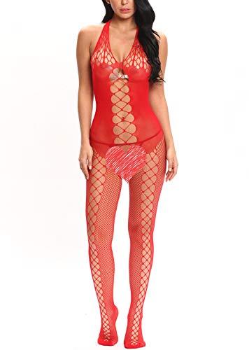 Vextronic Plus Size Fishnet Halter Bodystocking Chemise Hollow Out Bodysuit Lingerie for Women(G-String) -