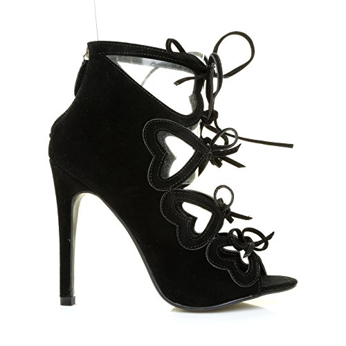 ShuWish UK Irene Black Faux Suede Caged Cut Out Hearts Lace up High Heels OnAxtQvpgh